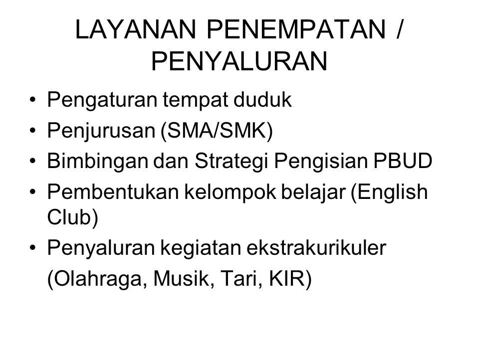 LAYANAN PENEMPATAN / PENYALURAN Pengaturan tempat duduk Penjurusan (SMA/SMK) Bimbingan dan Strategi Pengisian PBUD Pembentukan kelompok belajar (Engli