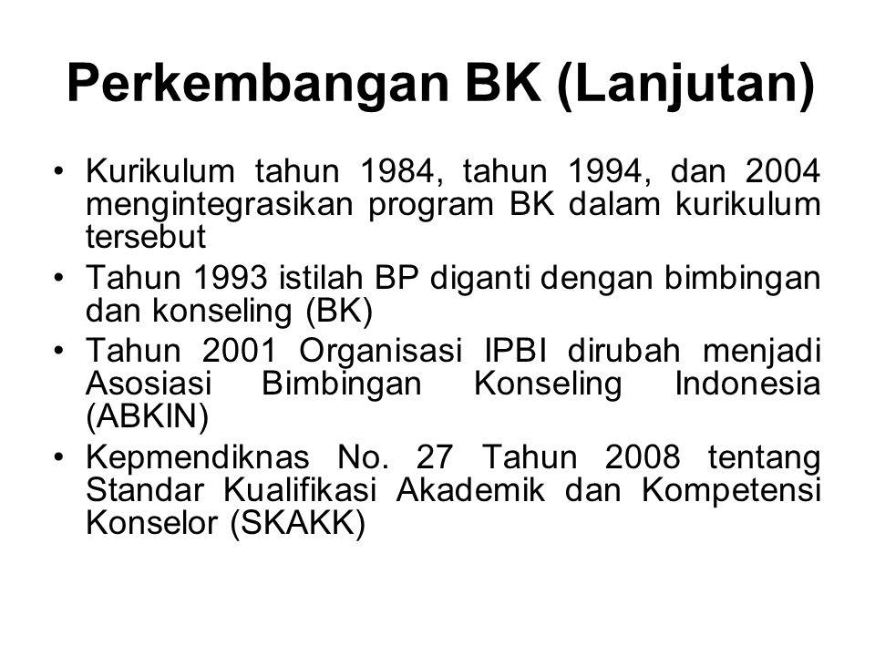 Perkembangan BK (Lanjutan) Kurikulum tahun 1984, tahun 1994, dan 2004 mengintegrasikan program BK dalam kurikulum tersebut Tahun 1993 istilah BP diganti dengan bimbingan dan konseling (BK) Tahun 2001 Organisasi IPBI dirubah menjadi Asosiasi Bimbingan Konseling Indonesia (ABKIN) Kepmendiknas No.