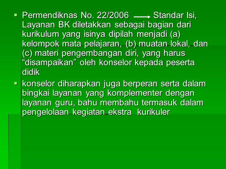  Permendiknas No. 22/2006 Standar Isi, Layanan BK diletakkan sebagai bagian dari kurikulum yang isinya dipilah menjadi (a) kelompok mata pelajaran, (