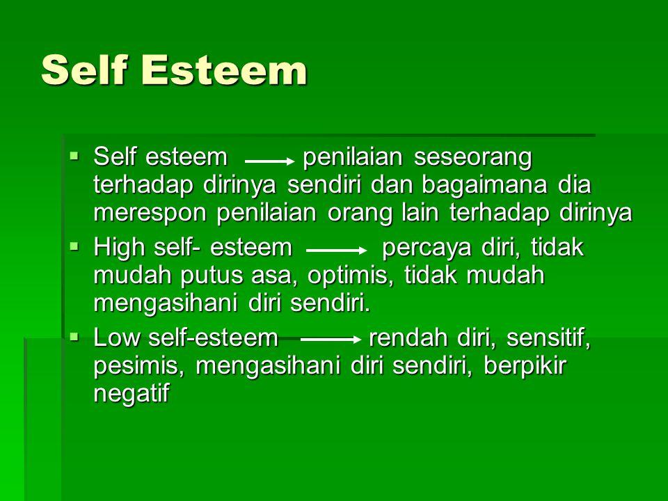 Self Esteem  Self esteem penilaian seseorang terhadap dirinya sendiri dan bagaimana dia merespon penilaian orang lain terhadap dirinya  High self- esteem percaya diri, tidak mudah putus asa, optimis, tidak mudah mengasihani diri sendiri.