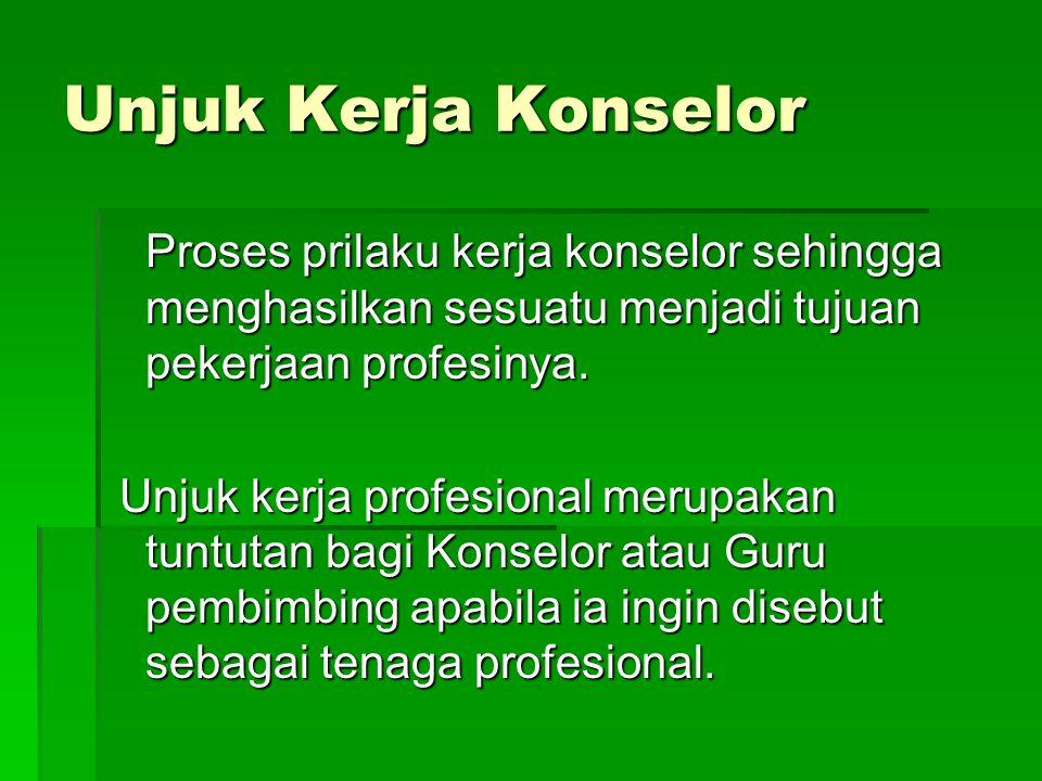 Unjuk Kerja Konselor Proses prilaku kerja konselor sehingga menghasilkan sesuatu menjadi tujuan pekerjaan profesinya. Unjuk kerja profesional merupaka