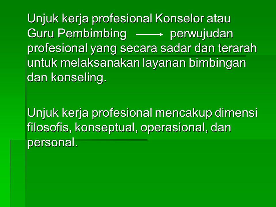 Unjuk kerja profesional Konselor atau Guru Pembimbing perwujudan profesional yang secara sadar dan terarah untuk melaksanakan layanan bimbingan dan ko