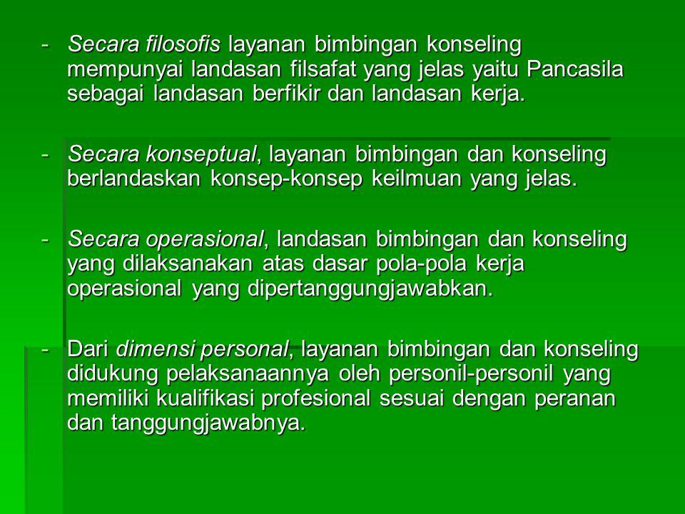 -Secara filosofis layanan bimbingan konseling mempunyai landasan filsafat yang jelas yaitu Pancasila sebagai landasan berfikir dan landasan kerja.
