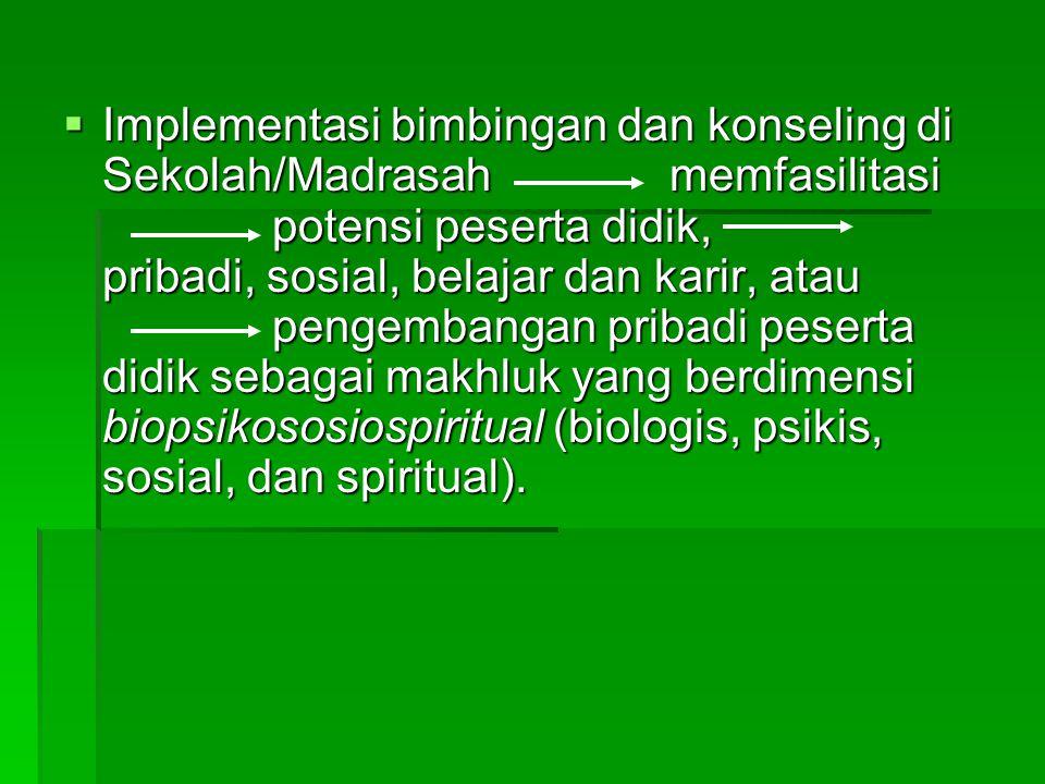  Implementasi bimbingan dan konseling di Sekolah/Madrasah memfasilitasi potensi peserta didik, pribadi, sosial, belajar dan karir, atau pengembangan pribadi peserta didik sebagai makhluk yang berdimensi biopsikososiospiritual (biologis, psikis, sosial, dan spiritual).