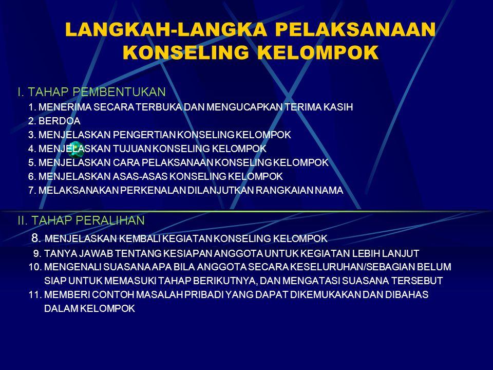 LANGKAH-LANGKA PELAKSANAAN KONSELING KELOMPOK I. TAHAP PEMBENTUKAN 1. MENERIMA SECARA TERBUKA DAN MENGUCAPKAN TERIMA KASIH 2. BERDOA 3. MENJELASKAN PE