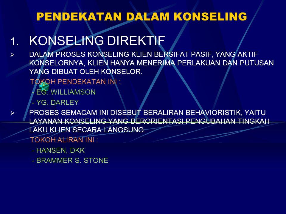PENDEKATAN DALAM KONSELING 1. KONSELING DIREKTIF  DALAM PROSES KONSELING KLIEN BERSIFAT PASIF, YANG AKTIF KONSELORNYA, KLIEN HANYA MENERIMA PERLAKUAN