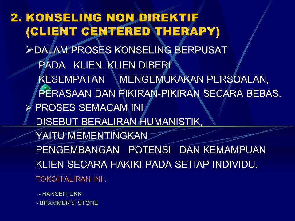 2. KONSELING NON DIREKTIF (CLIENT CENTERED THERAPY)  DALAM PROSES KONSELING BERPUSAT PADA KLIEN. KLIEN DIBERI KESEMPATAN MENGEMUKAKAN PERSOALAN, PERA
