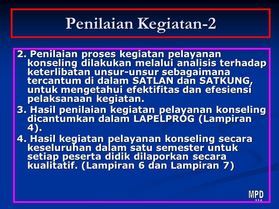 113 Penilaian Kegiatan-1 1. Penilaian hasil kegiatan pelayanan konseling dilakukan melalui: a. Penilaian segera (LAISEG), yaitu penilaian pada akhir s