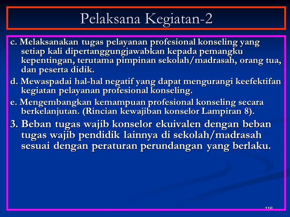 115 Pelaksana Kegiatan-1 1. Pelaksana kegiatan pelayanan konseling adalah konselor sekolah/ madrasah. 2. Konselor pelaksana kegiatan pelayanan konseli