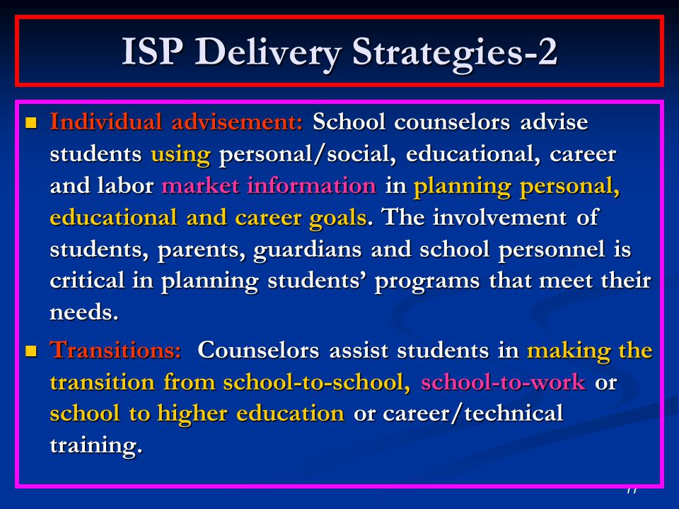 76 ISP Delivery Strategies-1 Individual Student Planning is implemented in individual, small group or classroom settings: Individual appraisal: School