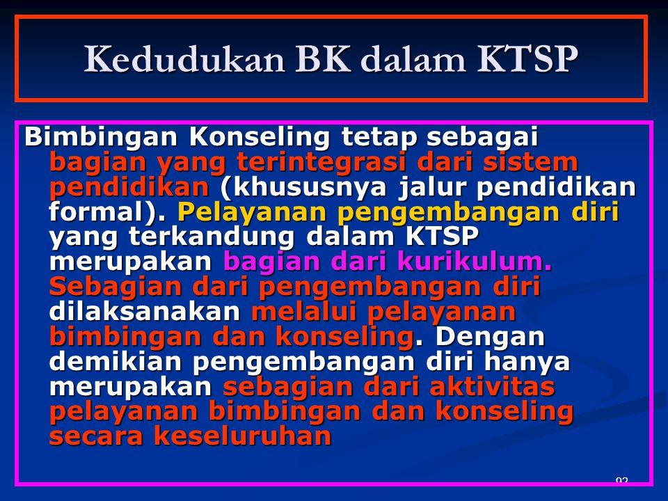 91 Pengembangan Diri dalam KTSP KTSP adalah salah satu subsistem pendidikan formal yang harus bersinergi dengan komponen/subsitem lain yaitu manajemen