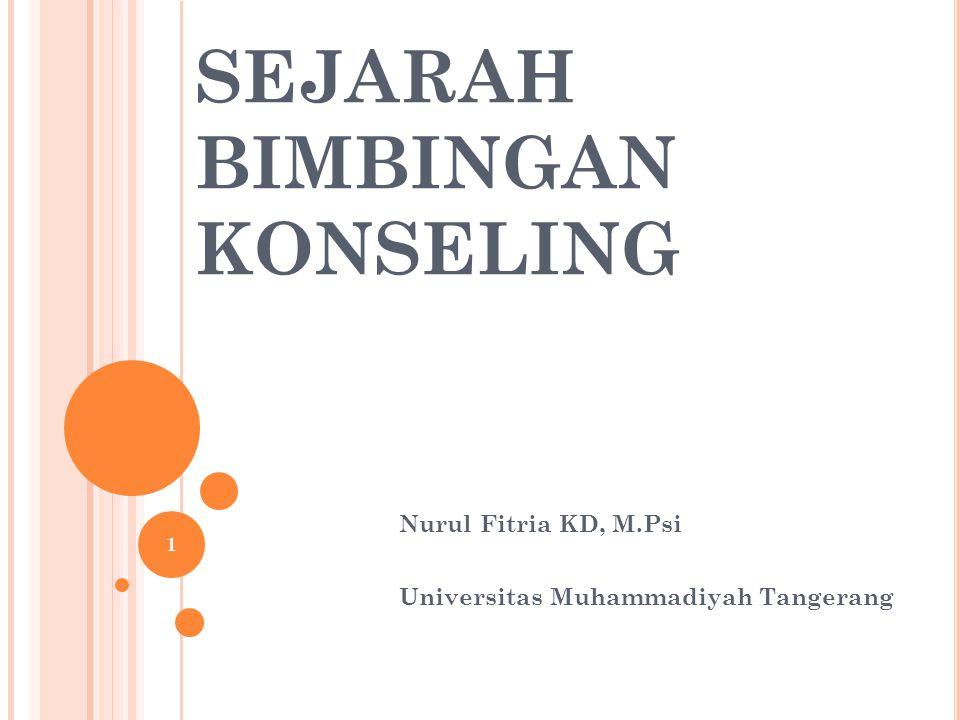 SEJARAH BIMBINGAN KONSELING Nurul Fitria KD, M.Psi Universitas Muhammadiyah Tangerang 1