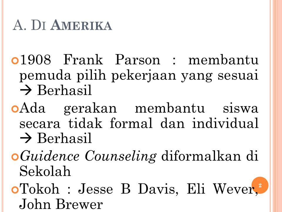 A. D I A MERIKA 1908 Frank Parson : membantu pemuda pilih pekerjaan yang sesuai  Berhasil Ada gerakan membantu siswa secara tidak formal dan individu