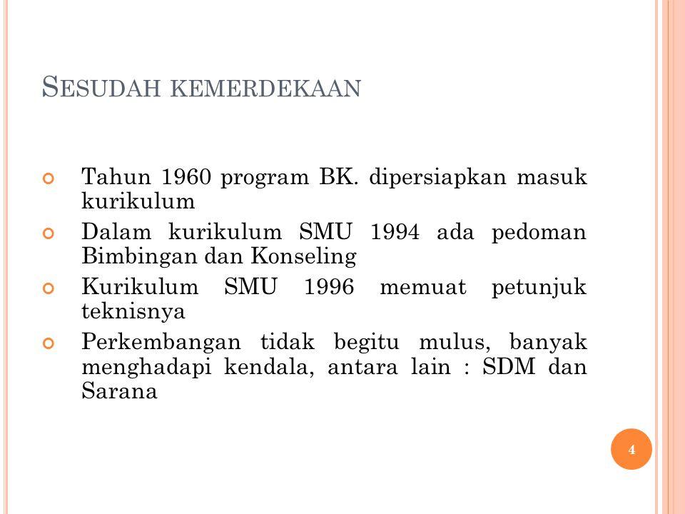 S ESUDAH KEMERDEKAAN Tahun 1960 program BK.
