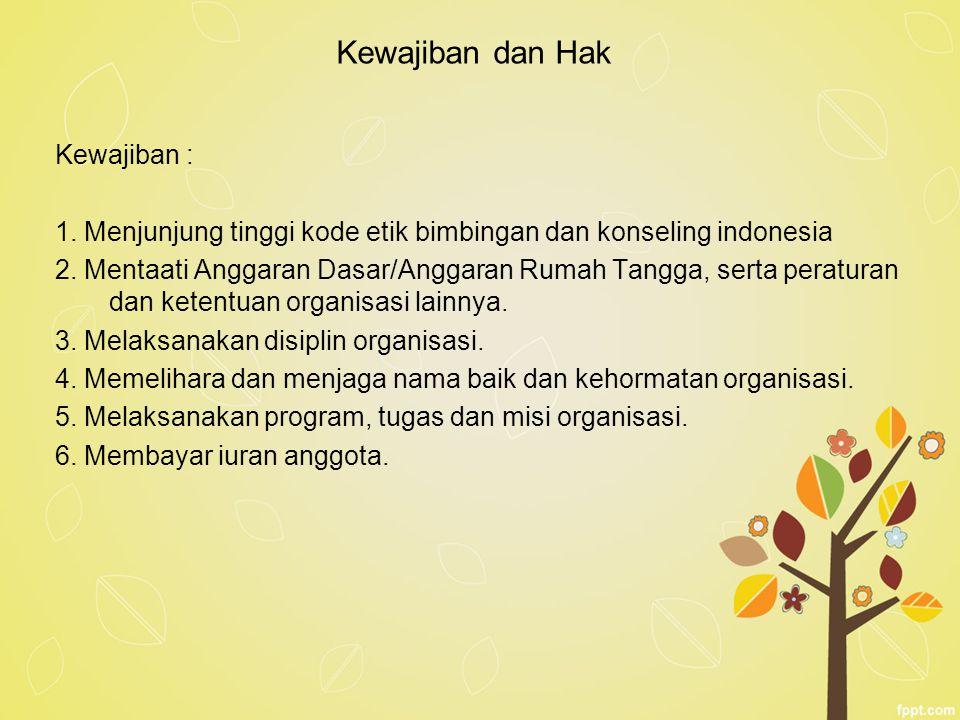 Kewajiban dan Hak Kewajiban : 1. Menjunjung tinggi kode etik bimbingan dan konseling indonesia 2. Mentaati Anggaran Dasar/Anggaran Rumah Tangga, serta
