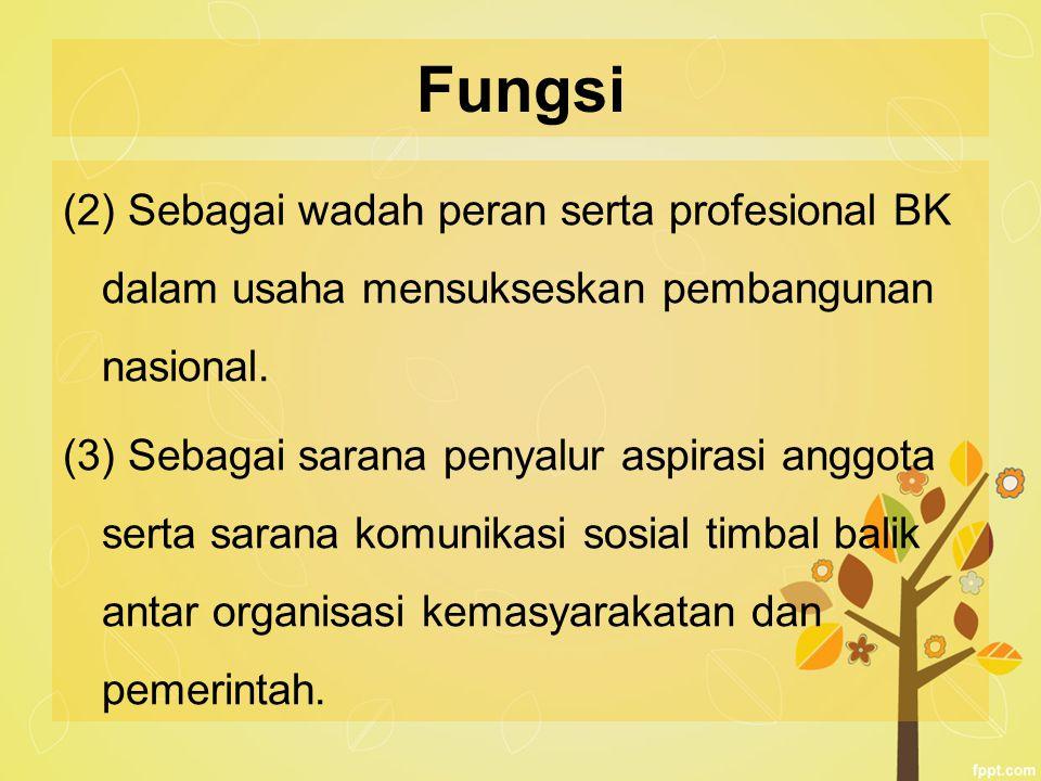 Fungsi (2) Sebagai wadah peran serta profesional BK dalam usaha mensukseskan pembangunan nasional. (3) Sebagai sarana penyalur aspirasi anggota serta