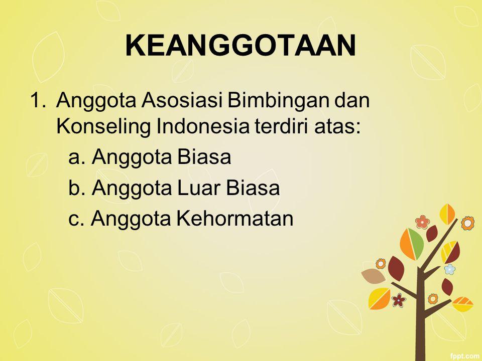 KEANGGOTAAN 1.Anggota Asosiasi Bimbingan dan Konseling Indonesia terdiri atas: a. Anggota Biasa b. Anggota Luar Biasa c. Anggota Kehormatan
