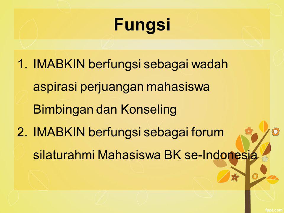 Fungsi 1.IMABKIN berfungsi sebagai wadah aspirasi perjuangan mahasiswa Bimbingan dan Konseling 2.IMABKIN berfungsi sebagai forum silaturahmi Mahasiswa