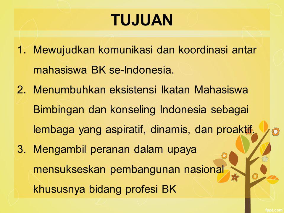 TUJUAN 1.Mewujudkan komunikasi dan koordinasi antar mahasiswa BK se-Indonesia. 2.Menumbuhkan eksistensi Ikatan Mahasiswa Bimbingan dan konseling Indon