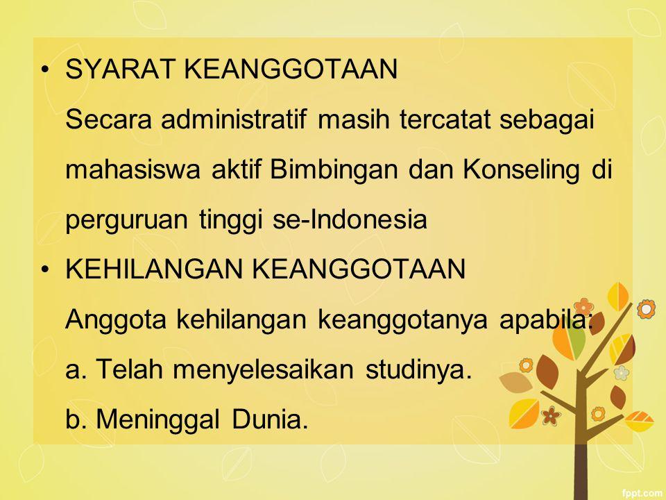 SYARAT KEANGGOTAAN Secara administratif masih tercatat sebagai mahasiswa aktif Bimbingan dan Konseling di perguruan tinggi se-Indonesia KEHILANGAN KEA