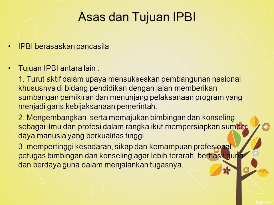 Asas dan Tujuan IPBI IPBI berasaskan pancasila Tujuan IPBI antara lain : 1. Turut aktif dalam upaya mensukseskan pembangunan nasional khususnya di bid