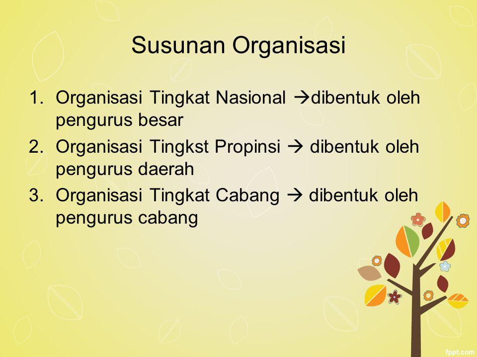 Susunan Organisasi 1.Organisasi Tingkat Nasional  dibentuk oleh pengurus besar 2.Organisasi Tingkst Propinsi  dibentuk oleh pengurus daerah 3.Organi