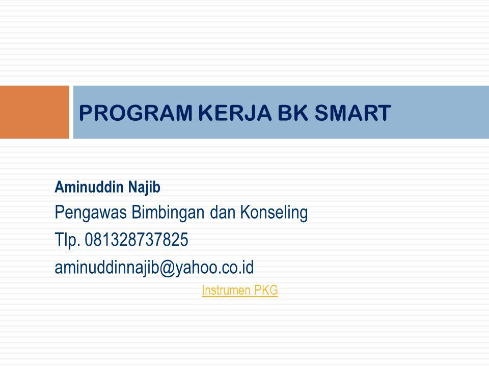 Aminuddin Najib Pengawas Bimbingan dan Konseling Tlp. 081328737825 aminuddinnajib@yahoo.co.id Instrumen PKG PROGRAM KERJA BK SMART