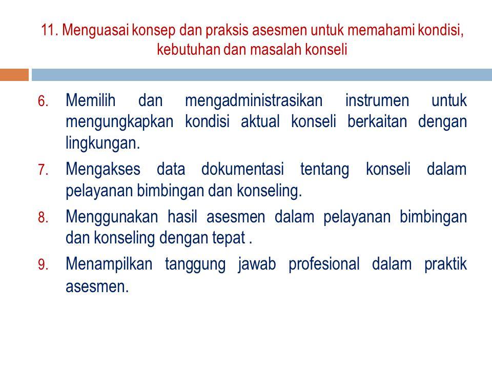 6. Memilih dan mengadministrasikan instrumen untuk mengungkapkan kondisi aktual konseli berkaitan dengan lingkungan. 7. Mengakses data dokumentasi ten