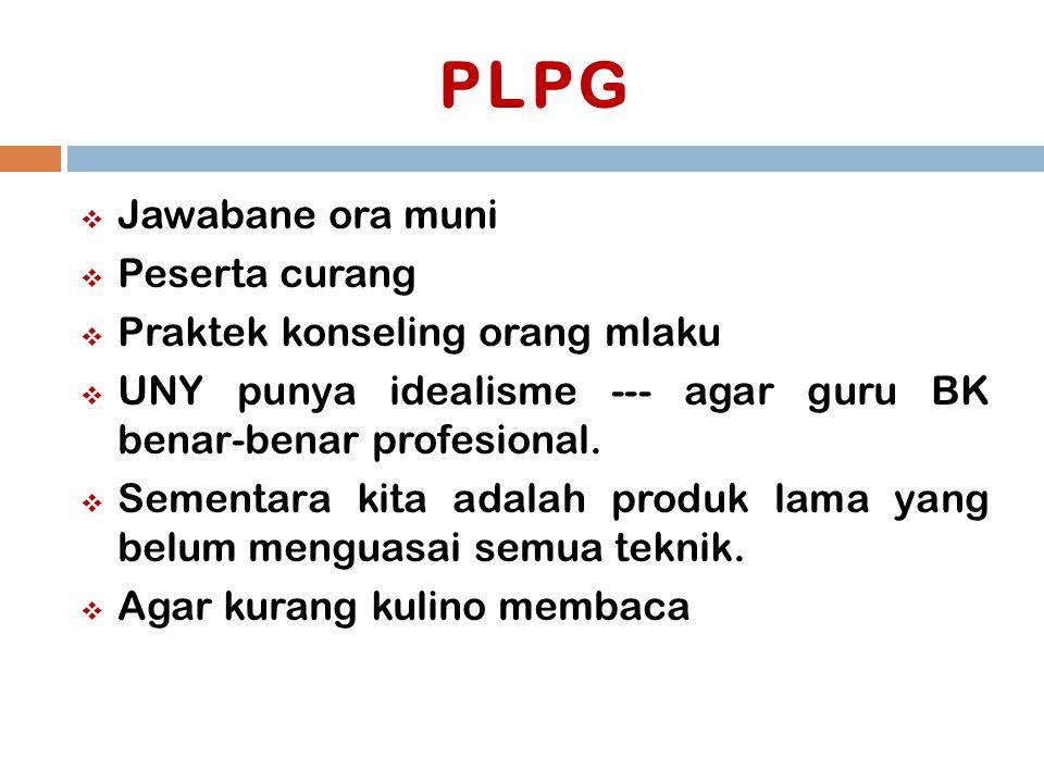 PLPG  Jawabane ora muni  Peserta curang  Praktek konseling orang mlaku  UNY punya idealisme --- agar guru BK benar-benar profesional.  Sementara