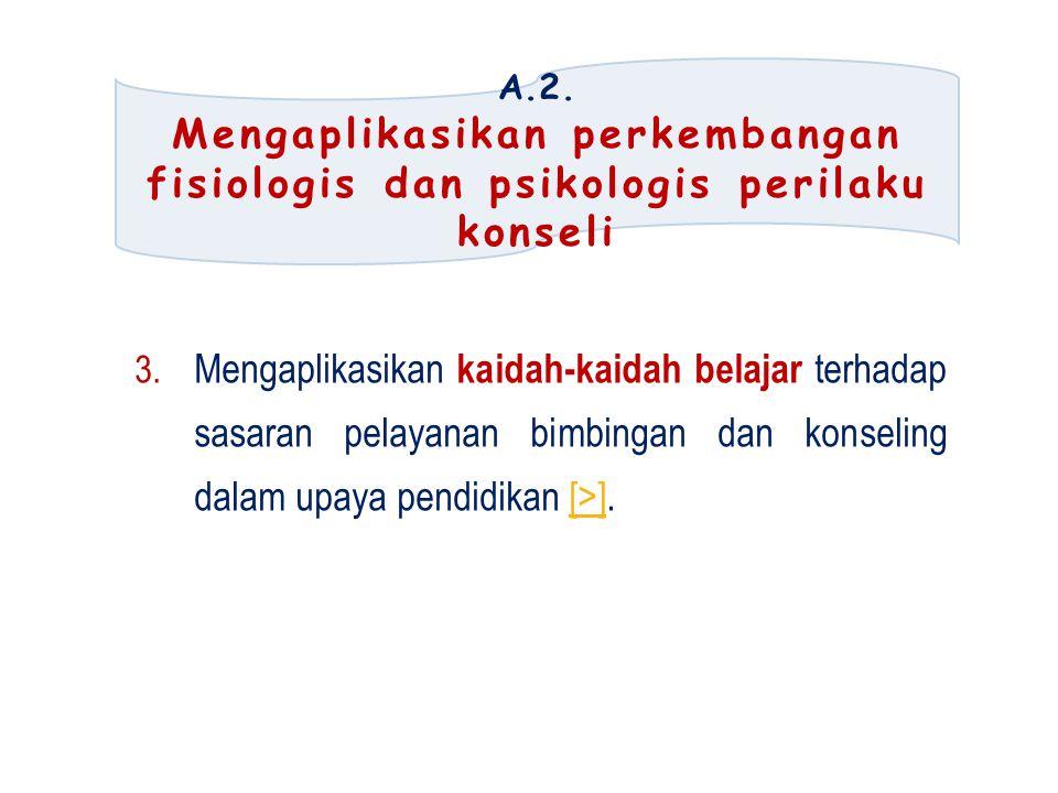 A.2.Mengaplikasikan perkembangan fisiologis dan psikologis perilaku konseli 3.