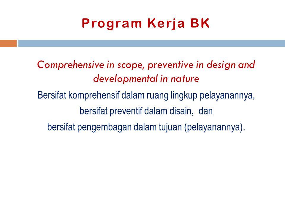Program Kerja BK Comprehensive in scope, preventive in design and developmental in nature Bersifat komprehensif dalam ruang lingkup pelayanannya, bersifat preventif dalam disain, dan bersifat pengembagan dalam tujuan (pelayanannya).