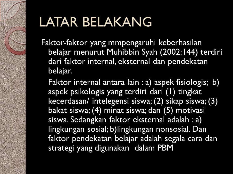LATAR BELAKANG Faktor-faktor yang mmpengaruhi keberhasilan belajar menurut Muhibbin Syah (2002:144) terdiri dari faktor internal, eksternal dan pendek