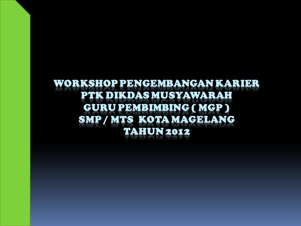 Penyusunan Program Bimbingan dan Konseling Oleh : Wiwit Purnomo, SPd ( Disampaikan pada Workshop Pengembangan Karier PTK Dikdas Musyawarah Guru Pembimbing SMP / MTs Kota Magelang Tahun 2012 )