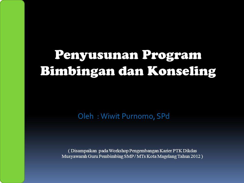 Penyusunan Program Bimbingan dan Konseling Oleh : Wiwit Purnomo, SPd ( Disampaikan pada Workshop Pengembangan Karier PTK Dikdas Musyawarah Guru Pembim