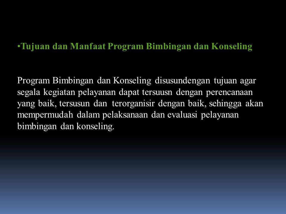 Tujuan dan Manfaat Program Bimbingan dan Konseling Program Bimbingan dan Konseling disusundengan tujuan agar segala kegiatan pelayanan dapat tersuusn