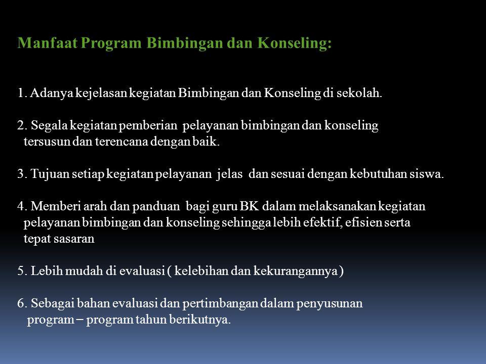 Manfaat Program Bimbingan dan Konseling: 1. Adanya kejelasan kegiatan Bimbingan dan Konseling di sekolah. 2. Segala kegiatan pemberian pelayanan bimbi