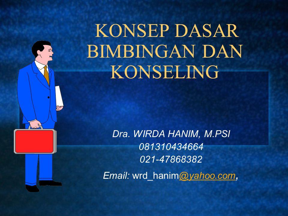 KONSEP DASAR BIMBINGAN DAN KONSELING Dra. WIRDA HANIM, M.PSI 081310434664 021-47868382 Email: wrd_hanim@yahoo.com,@yahoo.com