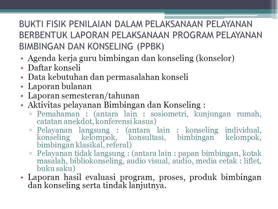 BUKTI FISIK PENILAIAN DALAM MERENCANAKAN KEGIATAN BIMBINGAN DAN KONSELING Mengumpulkan 5 buah Program Pelayanan Bimbingan dan Konseling (PPBK) yang be