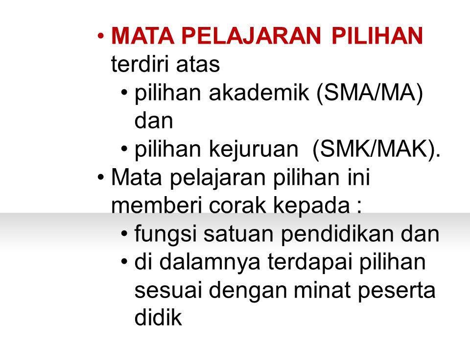 PERTANYAAN MATA PELAJARAN PILIHAN terdiri atas pilihan akademik (SMA/MA) dan pilihan kejuruan (SMK/MAK).