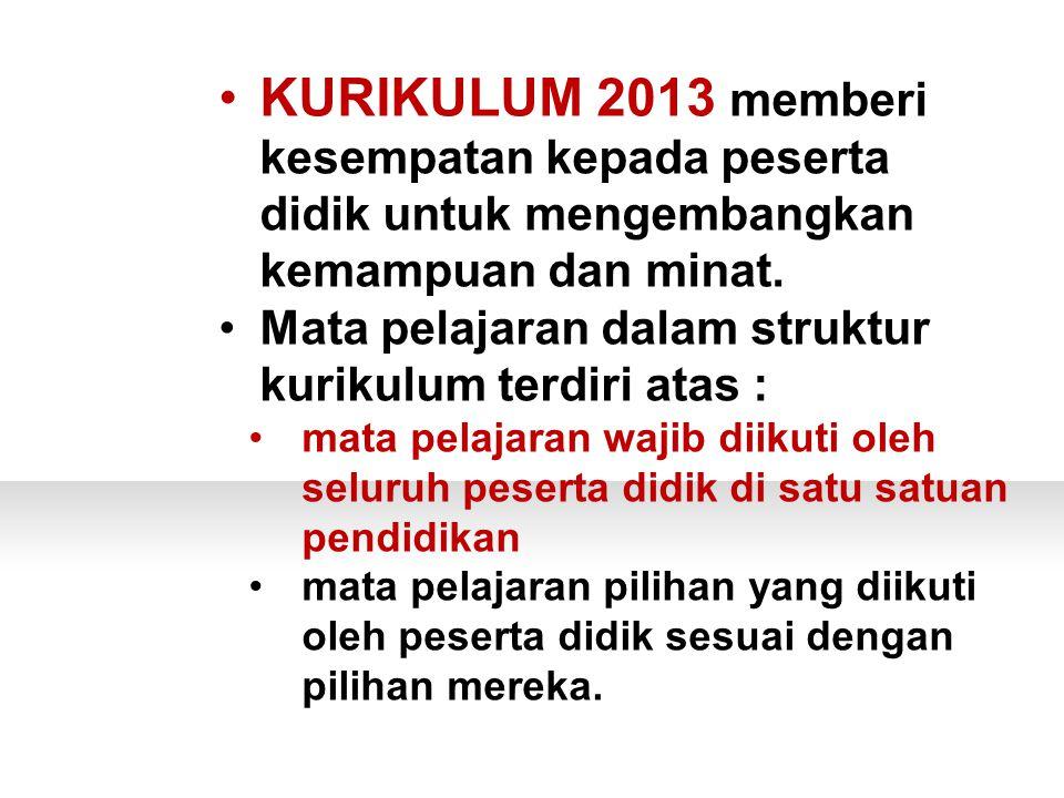 PERTANYAAN KURIKULUM 2013 memberi kesempatan kepada peserta didik untuk mengembangkan kemampuan dan minat.