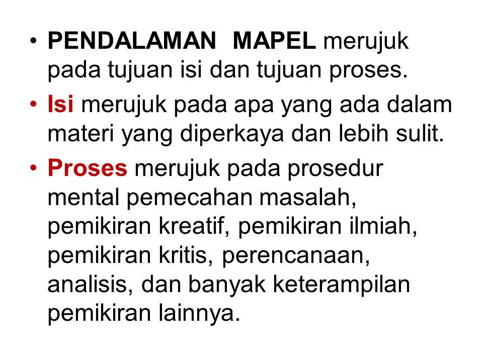 PENDALAMAN MAPEL merujuk pada tujuan isi dan tujuan proses.