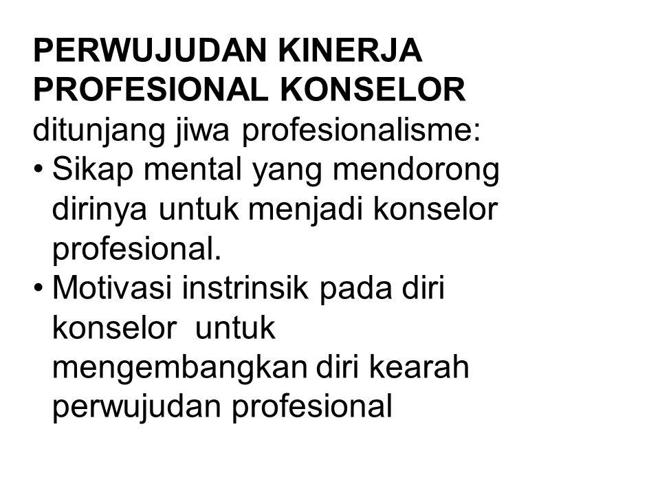 PERWUJUDAN KINERJA PROFESIONAL KONSELOR ditunjang jiwa profesionalisme: Sikap mental yang mendorong dirinya untuk menjadi konselor profesional.