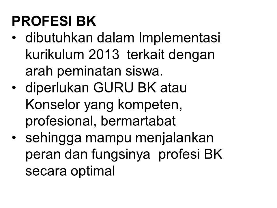 PROFESI BK dibutuhkan dalam Implementasi kurikulum 2013 terkait dengan arah peminatan siswa.