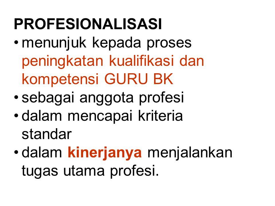 PROFESIONALISASI menunjuk kepada proses peningkatan kualifikasi dan kompetensi GURU BK sebagai anggota profesi dalam mencapai kriteria standar dalam kinerjanya menjalankan tugas utama profesi.