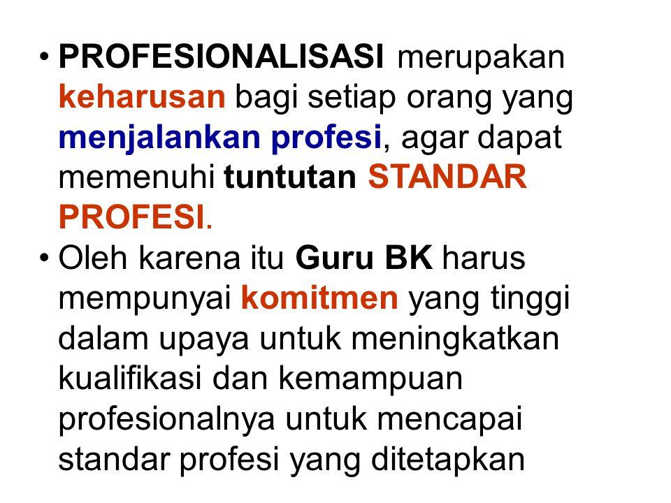 PROFESIONALISASI merupakan keharusan bagi setiap orang yang menjalankan profesi, agar dapat memenuhi tuntutan STANDAR PROFESI.