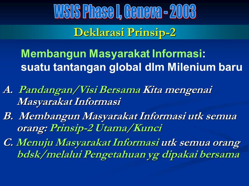 Hasil-2 Keluaran GENEVA PHASE – 2003 GENEVA PHASE – 2003 Geneva Declaration of Principles Geneva Declaration of Principles (Deklarasi Prinsip-2) (Dekl