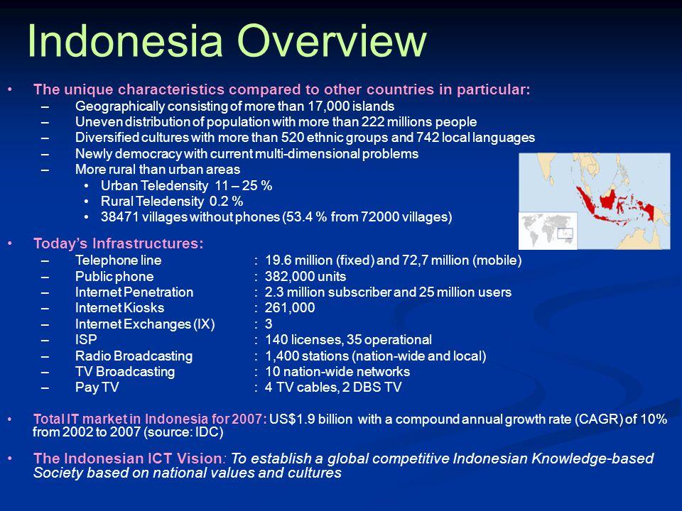 POSISI INDONESIA : - Mendayagunakan potensi hasil-hasil WSIS utk mendukung pembangunan nasional - Menyelaraskan komitmen Indonesia dlm membuka pasar ICT dg mempertimbang- kan persiapan kondisi lokal – dg kesadaran bahwa Indonesia anggota WTO dan gunakan GATT/GATS sbg pegangan - Berprinsip bahwa internet sbg tulang punggung IS, yg mrpk suatu fasilitas yg perlu dikelola dg baik – meskipun internet berkembang dr private sector, dg berkembang- nya fas ini sbg tulang punggung maka pemr perlu memiliki suatu mekanisme utk lakukan pengaturan/fasilitasi di mana perlu, dan sec global perlu diatur oleh suatu lembaga yg tdk memiliki keberpihakan pd neg/kelompok neg tertentu - Menekankan kembali bahwa pendanaan ICT/IS ditekankan pd PPP dg melibatkan semua stakeholders (pemr, private sector, civil society/akademisi) dlm menentukan arah pengembangan IS – pemr tetap akan melakukan fasilitasi pengembangan infrastruktur IS utk wilayah-2 yg sec ekon tdk diminati pengusaha - Mendukung mekanisme pendanaan yg bersifat bilateral, baik oleh badan/organ multilateral maupun neg-2 donor dlm membawa best practice dg memperhatikan konteks & kondisi lokal - Azas pengembangan industri lokal dan partnership dg pihak pengembang/ pembuat standard teknologi – utk ini perlu ada penekanan pada teknologi transfer di mana pihak lokal akhir akan dpt melakukan sustainable development – Indonesia berprinsip Tdk ada suatu neg yg akan maju hanya dg memperbesar pasar, tanpa kembangkan industri lokal  Long Term Joint Product Development – Technology Transfer - Tingkatkan SDM - Technical Business Cooperation Agreement (TBCA) – utama konten lokal - dan hrs dpt penuhi standard Quality, Cost and Delivery (QCD)