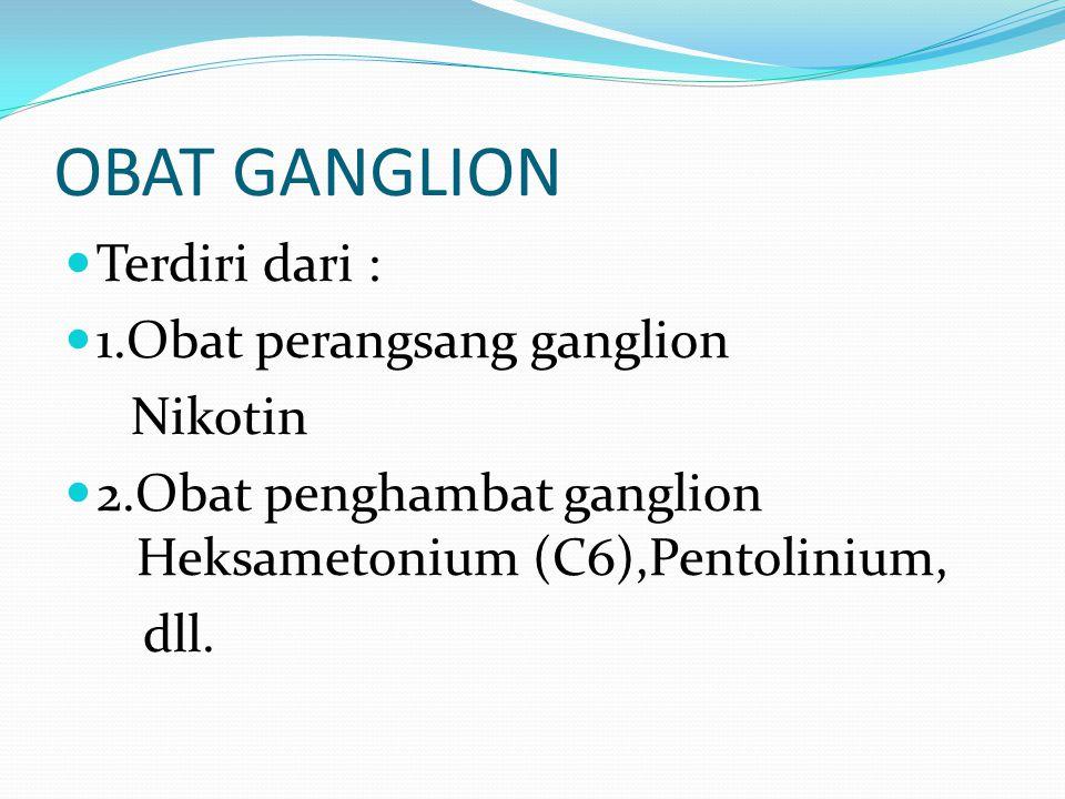OBAT GANGLION Terdiri dari : 1.Obat perangsang ganglion Nikotin 2.Obat penghambat ganglion Heksametonium (C6),Pentolinium, dll.