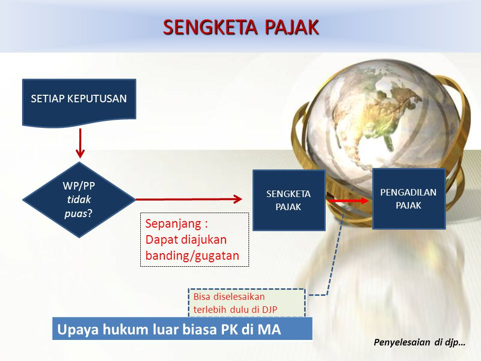 SENGKETA PAJAK SETIAP KEPUTUSAN WP/PP tidak puas? SENGKETA PAJAK 3 Sepanjang : Dapat diajukan banding/gugatan PENGADILAN PAJAK Bisa diselesaikan terle