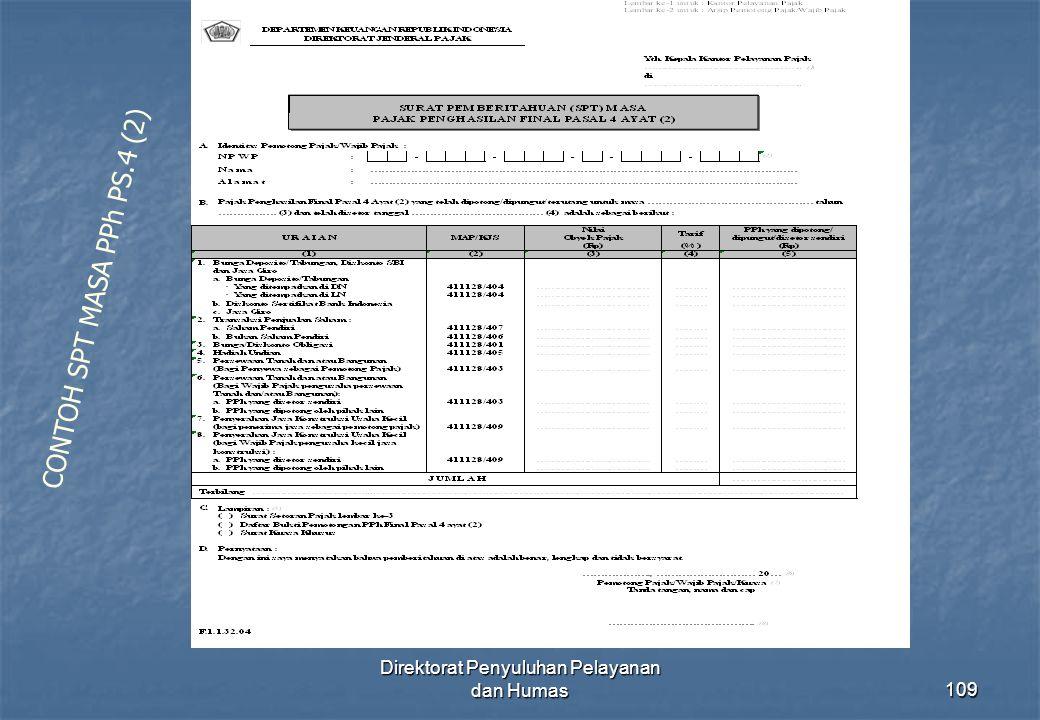 Direktorat Penyuluhan Pelayanan dan Humas109 CONTOH SPT MASA PPh PS.4 (2)